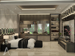 Master Bedroom PEKA INTERIOR Kamar Tidur Modern Kaca Grey