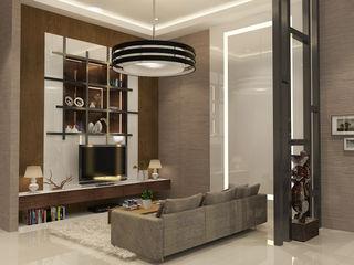 Living Room PEKA INTERIOR Ruang Keluarga Modern Grey