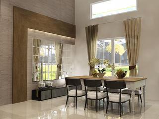 Living Room PEKA INTERIOR Ruang Makan Modern Kaca Brown
