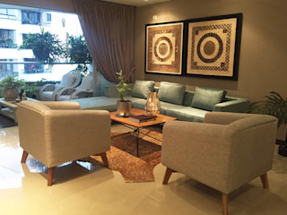 ANA ESTRADA DISEÑO INTERIOR Living room Solid Wood Grey