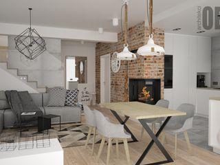 OES architekci Modern Oturma Odası Beton Gri
