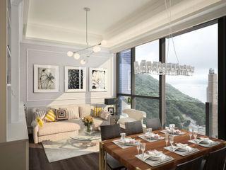 The Hudson 浚峯 | Kennedy Town 堅尼地城 Nelson W Design Salas de estilo clásico Beige