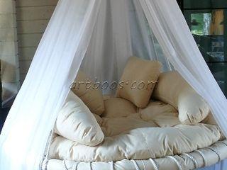 Подвесная круглая кровать на заказ Творческая мастерская АRTBOOS Балкон, веранда и террасаМебель Текстиль Бежевый