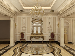 Classic Villa Reception Rêny Classic style corridor, hallway and stairs Amber/Gold