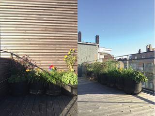 Terrasse de 30m2 plein sud en ville Urban Garden Designer Balcon, Veranda & TerrassePlantes et fleurs Bois