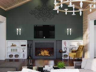 Wide Design Group クラシックデザインの リビング 緑