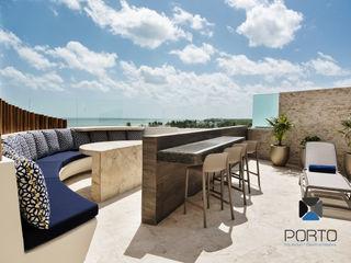 PORTO Arquitectura + Diseño de Interiores Balkon, Beranda & Teras Gaya Mediteran