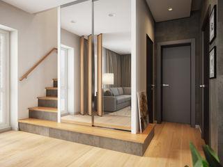 House in Tomsk EVGENY BELYAEV DESIGN Couloir, entrée, escaliers modernes