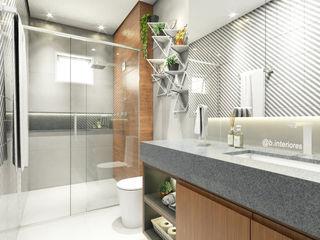 Bruna Rodrigues Designer de Interiores Baños de estilo moderno Azulejos Gris