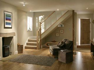 Stair World Nowoczesny korytarz, przedpokój i schody Szkło O efekcie drewna