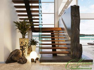 Компания архитекторов Латышевых 'Мечты сбываются' Corredores, halls e escadas modernos