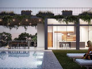 DELTA minimalist style balcony, porch & terrace