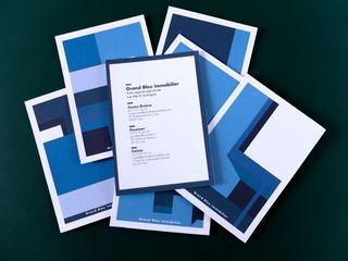 Grand Bleu Immobilier, communication print, graphisme Thibaut Solvit ArtPhotos et illustrations