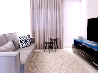 Haus Brasil Arquitetura e Interiores Rustic style living room Engineered Wood Blue