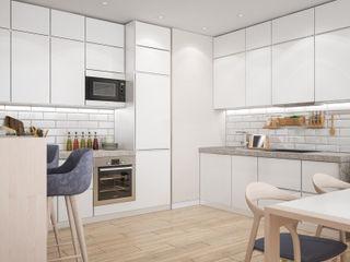 Скандинавский интерьер для молодой пары Tatiana Zaitseva Design Studio Кухня в стиле минимализм