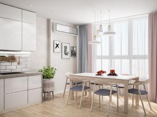 Скандинавский интерьер для молодой пары Tatiana Zaitseva Design Studio Столовая комната в скандинавском стиле
