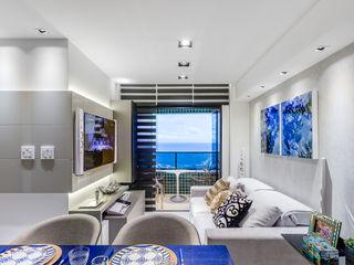 Arquitetura Sônia Beltrão & associados Moderne Wohnzimmer Glas Grau