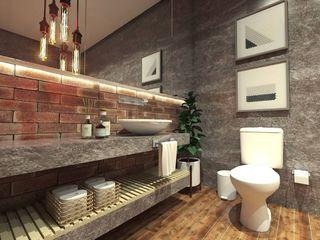 Caroline Berto Arquitetura Industrial style bathroom Concrete Grey