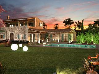 Perspectivas 3D de una vivienda estilo rústico Realistic-design Casas unifamilares