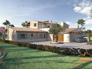 Perspectivas 3D de una vivienda estilo rústico Realistic-design Casas de estilo rústico