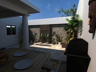 OLLIN ARQUITECTURA Modern Terrace Stone Multicolored