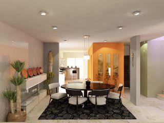 OLLIN ARQUITECTURA Modern Dining Room Wood-Plastic Composite Grey