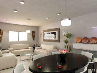 OLLIN ARQUITECTURA Modern Living Room Wood-Plastic Composite White