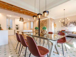 Markham Stagers Ruang Makan Modern Ubin Amber/Gold