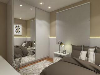 Caroline Berto Arquitetura Modern Bedroom MDF Beige