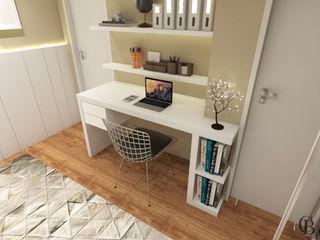 Caroline Berto Arquitetura Eclectic style bedroom MDF Beige