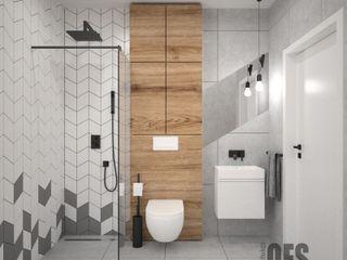 OES architekci Modern Banyo Taş Gri
