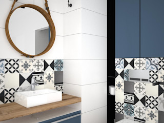 OES architekci Modern Banyo Seramik Mavi