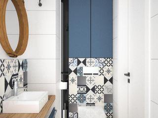 OES architekci Modern Banyo Beton Mavi