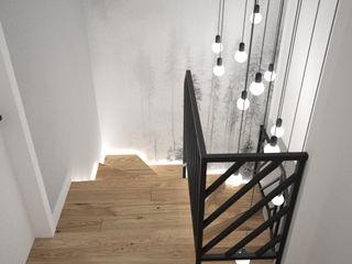 OES architekci Minimalist Koridor, Hol & Merdivenler Masif Ahşap Beyaz