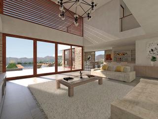 Uno Arquitectura Salones de estilo mediterráneo Hormigón Blanco