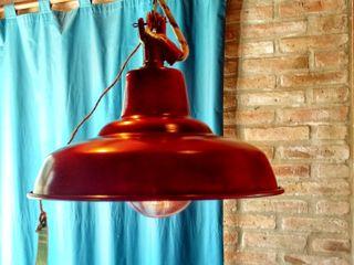 LAMPARAS GALPONERAS COLGANTES COLORES VINTAGE Lamparas Vintage Vieja Eddie Oficinas y locales comerciales Aluminio/Cinc Rojo