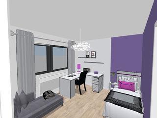 Chambre de jeune fille coloris violet et gris Scènes d'Intérieur Chambre d'enfant moderne