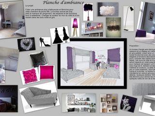 Chambre de jeune fille coloris violet et gris Scènes d'Intérieur Chambre d'enfant moderne Violet