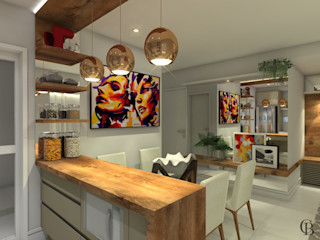 Caroline Berto Arquitetura Kitchen units Solid Wood Beige