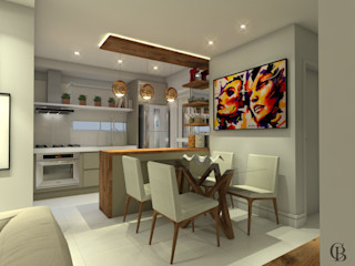 Caroline Berto Arquitetura Modern Dining Room MDF Beige