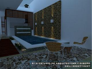 B+N Estudio de Arquitectura y Diseño Modern style balcony, porch & terrace Brown
