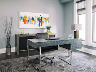 Frahm Interiors Modern Study Room and Home Office Grey