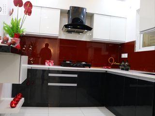 Kitchen Cabinet with Storage Shutters Enrich Interiors & Decors Modern Kitchen Plywood Black