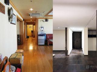 주식회사 착한공간연구소 Pasillos, vestíbulos y escaleras de estilo asiático Madera Blanco