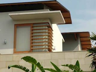 Residential_Landed_Semi-Detached House daksaja architects and planners Rumah Tropis Kayu Wood effect