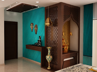 Asian classic style Foyer with Puja area homify Modern Corridor, Hallway and Staircase