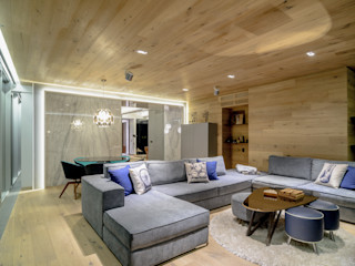 NIVEL TRES ARQUITECTURA Modern living room Wood Beige