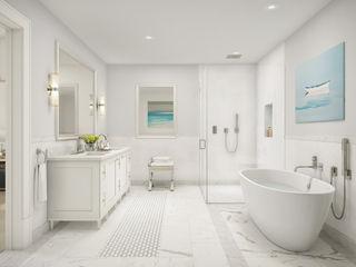272 West 86th GD Arredamenti Baños de estilo clásico Madera Blanco