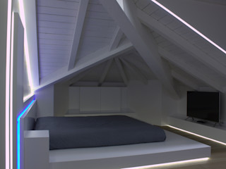 Loft Tarsogno Giemmecontract srl. Camera da letto minimalista