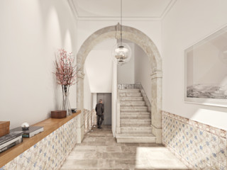 Onstudio Lda Modern Corridor, Hallway and Staircase